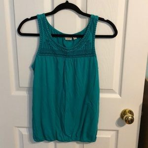 Tops - Teal tank with stitched design